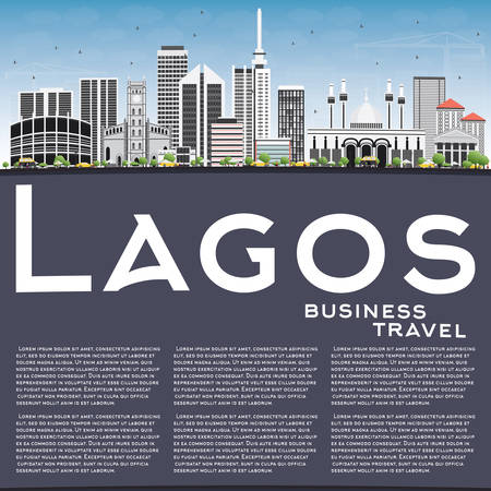 lagos: Lagos Skyline with Gray Buildings, Blue Sky and Copy Space. Vector Illustration. Business Travel and Tourism Concept with Modern Buildings. Image for Presentation Banner Placard and Web Site.