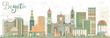 Abstrait Bogota Skyline avec des bâtiments de couleur. Illustration vectorielle Concept de voyage d'affaires et de tourisme avec des bâtiments historiques. Image pour la bannière de présentation et le site Web.