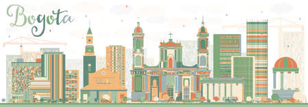 Abstract Bogota Skyline with Color Buildings. Vector Illustration. Business Travel and Tourism Concept with Historic Buildings. Image for Presentation Banner Placard and Web Site.