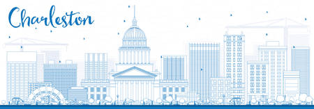 charleston: Outline Charleston Skyline with Blue Buildings. West Virginia. Vector Illustration. Business Travel and Tourism Concept with Modern Buildings. Image for Presentation Banner Placard and Web Site.