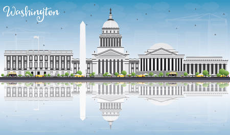 Washington DC Skyline with Gray Buildings, Blue Sky and Reflections. Vector Illustration. Business Travel and Tourism Concept with Historic Buildings. Image for Presentation Banner Placard and Web Site.