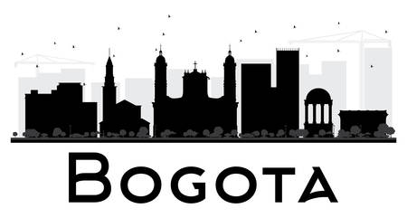 Bogota City skyline black and white silhouette. Vector illustration. Simple flat concept for tourism presentation, banner, placard or web site. Business travel concept. Cityscape with landmarks Illustration