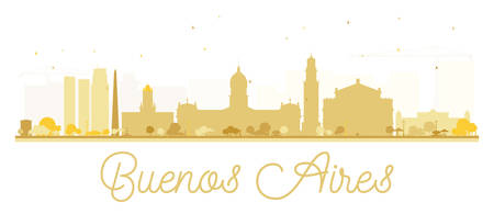 buenos: Buenos Aires skyline golden silhouette. Vector illustration. Simple flat concept for tourism presentation, banner, placard or web site. Business travel concept. Cityscape with landmarks Illustration