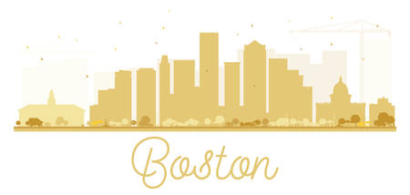 boston skyline: Boston City skyline golden silhouette. Vector illustration. Simple flat concept for tourism presentation, banner, placard or web site. Business travel concept. Cityscape with landmarks