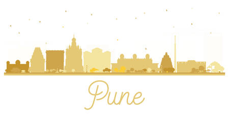 pune: Pune skyline golden silhouette. Vector illustration. Simple flat concept for tourism presentation, banner, placard or web site. Cityscape with famous landmarks