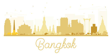 bangkok city: Bangkok City skyline golden silhouette. Vector illustration. Simple flat concept for tourism presentation, banner, placard or web site. Business travel concept. Cityscape with landmarks Illustration
