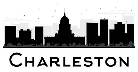 charleston: Charleston City skyline black and white silhouette. Vector illustration. Simple flat concept for tourism presentation, banner, placard or web site. Business travel concept. Cityscape with landmarks Illustration
