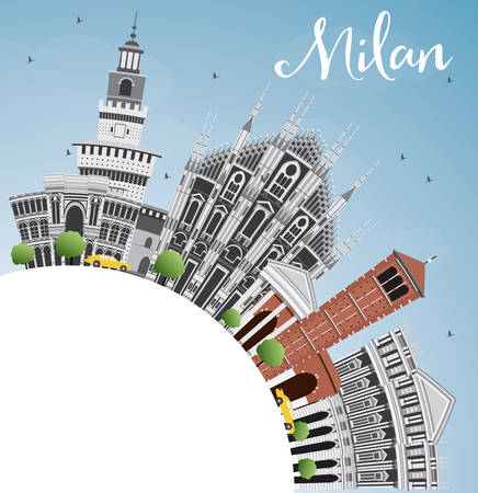 Milan Skyline with Gray Landmarks, Blue Sky and Copy Space. Vector Illustration. Business Travel and Tourism Concept with Historic Buildings.
