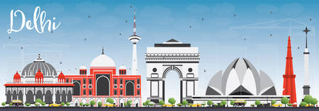 Delhi Skyline with Gray Buildings and Blue Sky. Vector Illustration. Business Travel and Tourism Concept with Historic Buildings. Image for Presentation Banner Placard and Web Site.