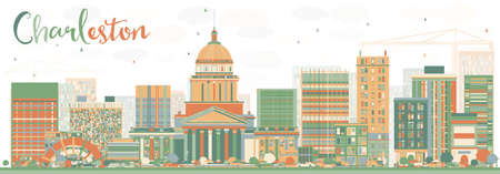 charleston: Abstract Charleston Skyline with Color Buildings. West Virginia. Vector Illustration. Business Travel and Tourism Concept with Modern Buildings. Image for Presentation Banner Placard and Web Site.