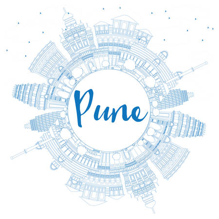 pune: Outline Pune Skyline with Blue Buildings and Copy Space. Vector Illustration. Business Travel and Tourism Concept with Historic Buildings.