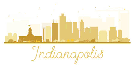 indianapolis: Indianapolis City skyline golden silhouette. Vector illustration. Simple flat concept for tourism presentation, banner, placard or web site. Business travel concept. Cityscape with landmarks