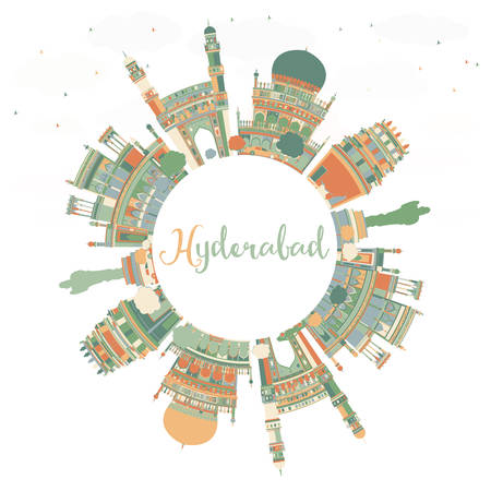 Abstract Hyderabad Skyline with Color Landmarks and Copy Space. Vector Illustration. Business Travel and Tourism Concept with Historic Buildings. Image for Presentation Banner Placard and Web Site.
