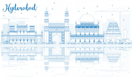 Outline Hyderabad Skyline with Blue Landmarks and Reflections. Vector Illustration. Business Travel and Tourism Concept with Historic Buildings. Image for Presentation Banner Placard and Web Site. Vetores