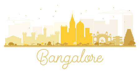 Bangalore City skyline golden silhouette. Vector illustration. Simple flat concept for tourism presentation, banner, placard or web site. Business travel concept. Cityscape with landmarks Illustration