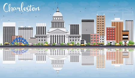 charleston: Charleston Skyline with Gray Buildings, Blue Sky and Reflections. West Virginia. Vector Illustration. Business Travel and Tourism Concept with Modern Buildings. Image for Presentation Banner Placard and Web Site.