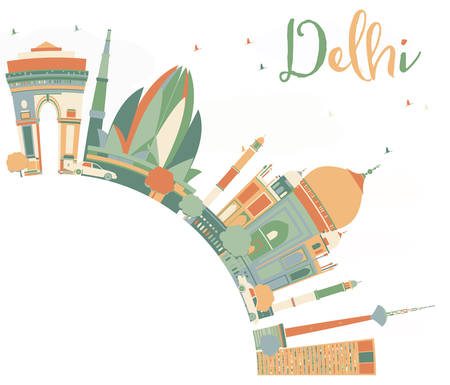 Abstract Delhi Skyline with Color Landmarks and Copy Space. Vector Illustration. Business Travel and Tourism Concept with Historic Buildings. Image for Presentation, Banner, Placard and Web Site. Illustration