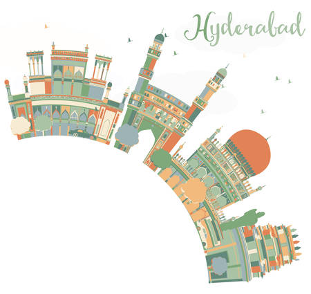 Abstract Hyderabad Skyline with Color Landmarks and Copy Space. Vector Illustration. Business Travel and Tourism Concept with Historic Buildings. Image for Presentation Banner Placard and Web Site. Vetores