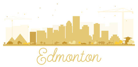 alberta: Edmonton City skyline golden silhouette. Vector illustration. Simple flat concept for tourism presentation, banner, placard or web site. Business travel concept. Isolated Edmonton