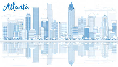 atlanta tourism: Outline Atlanta Skyline with Blue Buildings and Reflections. Vector Illustration. Business Travel and Tourism Concept with Modern Buildings. Image for Presentation Banner Placard and Web Site.