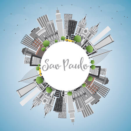 Sao Paulo Skyline with Gray Buildings, Blue Sky and Copy Space. Vector Illustration. Business Travel and Tourism Concept with Modern Buildings. Illustration