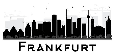 Frankfurt City skyline black and white silhouette. Vector illustration. Simple flat concept for tourism presentation, banner, placard or web site. Business travel concept. Cityscape with landmarks
