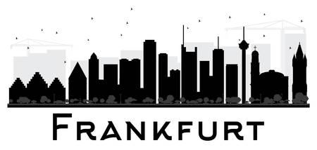frankfurt: Frankfurt City skyline black and white silhouette. Vector illustration. Simple flat concept for tourism presentation, banner, placard or web site. Business travel concept. Cityscape with landmarks Illustration
