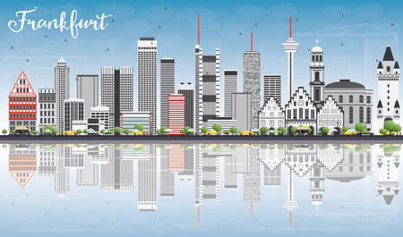 frankfurt germany: Frankfurt Skyline with Gray Buildings, Blue Sky and Reflections. Vector Illustration. Business Travel and Tourism Concept with Modern Buildings. Image for Presentation Banner Placard and Web Site. Illustration