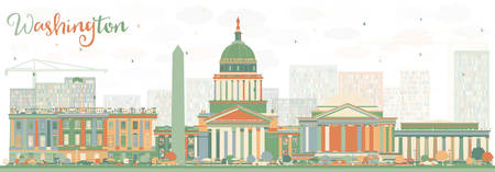 Abstract Washington DC Skyline with Color Buildings. Vector Illustration. Business Travel and Tourism Concept with Historic Buildings. Image for Presentation Banner Placard and Web Site.  イラスト・ベクター素材