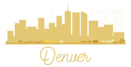 denver colorado: Denver City skyline golden silhouette. Vector illustration. Simple flat concept for tourism presentation, banner, placard or web site. Business travel concept. Cityscape with landmarks Illustration