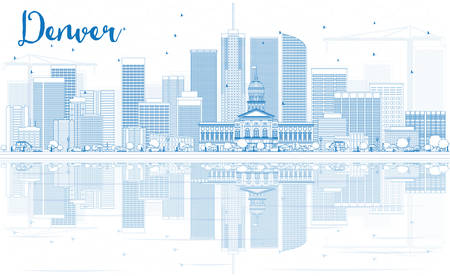 denver buildings: Outline Denver Skyline with Blue Buildings and Reflections. Vector Illustration. Business Travel and Tourism Concept with Modern Buildings. Image for Presentation Banner Placard and Web Site. Illustration