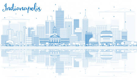 indianapolis: Outline Indianapolis Skyline with Blue Buildings and Reflections. Vector Illustration. Business Travel and Tourism Concept with Modern Buildings. Image for Presentation Banner Placard and Web Site. Illustration
