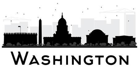 ワシントン DC 都市スカイラインの黒と白のシルエット。ベクトルの図。観光プレゼンテーション、バナー、プラカードまたは web サイトのためのシ
