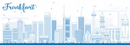 Outline Frankfurt Skyline with Blue Buildings. Vector Illustration. Business Travel and Tourism Concept with Modern Buildings. Image for Presentation Banner Placard and Web Site.
