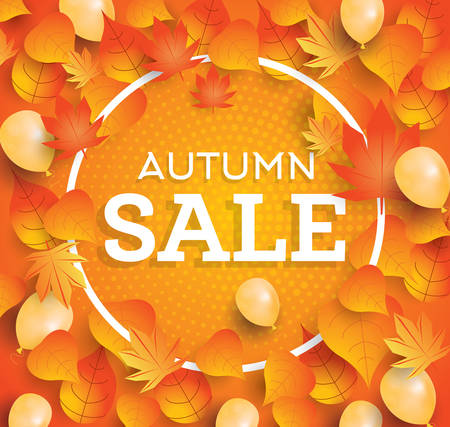 falling leaves: Autumn sale background with falling leaves and balloons. Vector illustration.