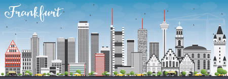 frankfurt: Frankfurt Skyline with Gray Buildings and Blue Sky. Vector Illustration. Business Travel and Tourism Concept with Modern Buildings. Image for Presentation Banner Placard and Web Site.