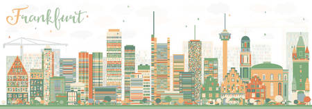 Abstract Frankfurt Skyline with Color Buildings. Vector Illustration. Business Travel and Tourism Concept with Modern Buildings. Image for Presentation Banner Placard and Web Site.
