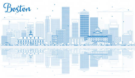 boston skyline: Outline Boston Skyline with Blue Buildings and Reflections. Vector Illustration. Business Travel and Tourism Concept with Modern Buildings. Image for Presentation Banner Placard and Web Site.