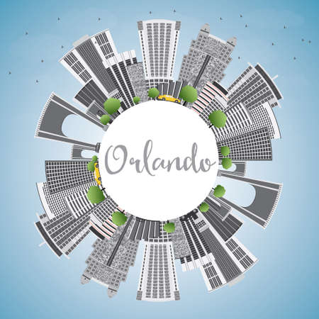 Orlando Skyline with Gray Buildings, Blue Sky and Copy Space. Vector Illustration. Business Travel and Tourism Concept with Orlando City. Image for Presentation Banner Placard and Web Site.  イラスト・ベクター素材