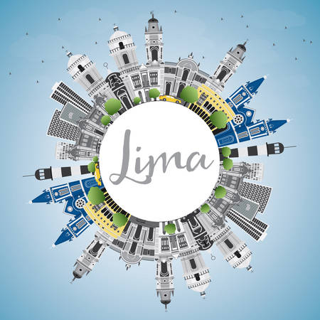 Lima Skyline with Gray Buildings, Blue Sky and Copy Space. Vector Illustration. Business Travel and Tourism Concept with Lima City. Image for Presentation Banner Placard and Web Site. Vector Illustration