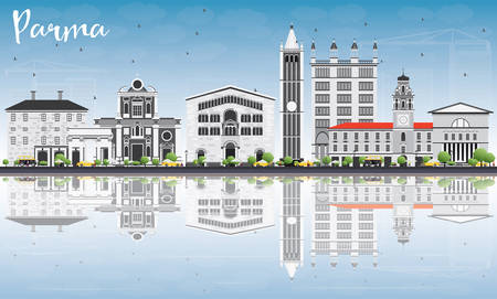 Parma Skyline with Gray Buildings, Blue Sky and Reflections. Vector Illustration. Business Travel and Tourism Concept with Historic Buildings. Image for Presentation Banner Placard and Web Site. Illustration