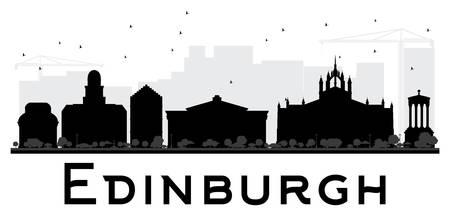 edinburgh: Edinburgh City skyline black and white silhouette. Vector illustration. Simple flat concept for tourism presentation, banner, placard or web site. Business travel concept. Cityscape with landmarks Illustration