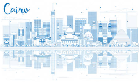 cairo: Outline Cairo Skyline with Blue Buildings and Reflections. Vector Illustration. Business Travel and Tourism Concept with Historic Buildings. Image for Presentation Banner Placard and Web Site. Illustration