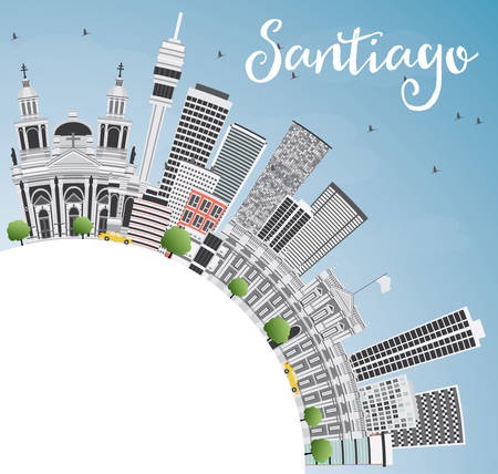 santiago: Santiago Chile Skyline with Gray Buildings, Blue Sky and Copy Space. Vector Illustration. Business Travel and Tourism Concept with Modern Buildings. Image for Presentation Banner Placard and Web Site. Illustration