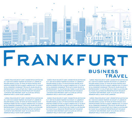 frankfurt: Outline Frankfurt Skyline with Blue Buildings and Copy Space. Vector Illustration. Business Travel and Tourism Concept with Modern Buildings. Image for Presentation Banner Placard and Web Site.