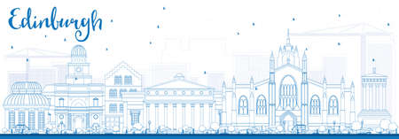edinburgh: Outline Edinburgh Skyline with Blue Buildings. Vector Illustration. Business Travel and Tourism Concept with Historic Buildings. Image for Presentation Banner Placard and Web Site.
