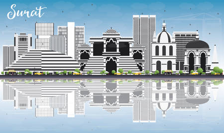 Surat Skyline with Gray Buildings, Blue Sky and Reflections. Vector Illustration. Business Travel and Tourism Concept with Historic Buildings. Image for Presentation Banner Placard and Web Site.