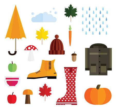 Set of Autumn Elements Isolated on White Background. Vector Illustration.