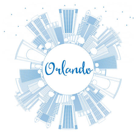 fl: Outline Orlando Skyline with Blue Buildings and Copy Space. Vector Illustration. Business Travel and Tourism Concept with Orlando City. Image for Presentation Banner Placard and Web Site.