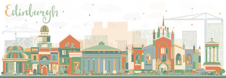edinburgh: Abstract Edinburgh Skyline with Color Buildings. Vector Illustration. Business Travel and Tourism Concept with Historic Buildings. Image for Presentation Banner Placard and Web Site.